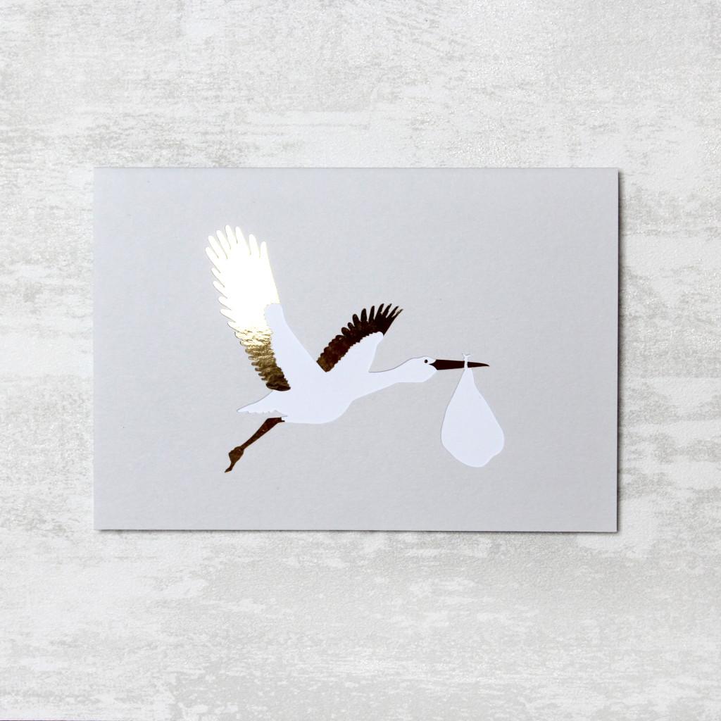 Papercut Stork New Baby Card