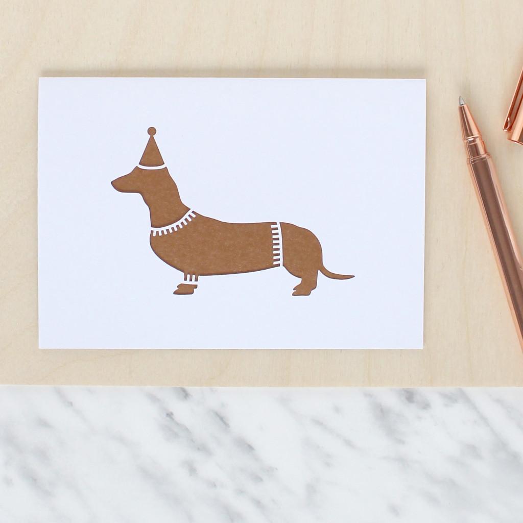 Papercut Party Sausage Dog Daschund Card