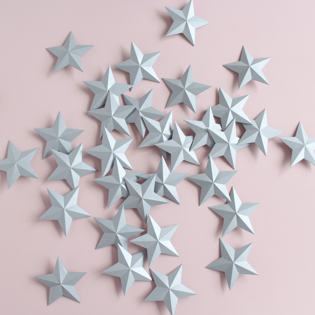 3D Silver Paper Stars