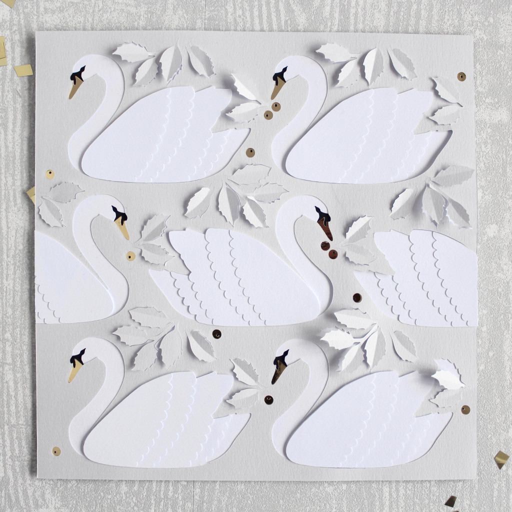Layered Papercut Seven Swans A Swimming