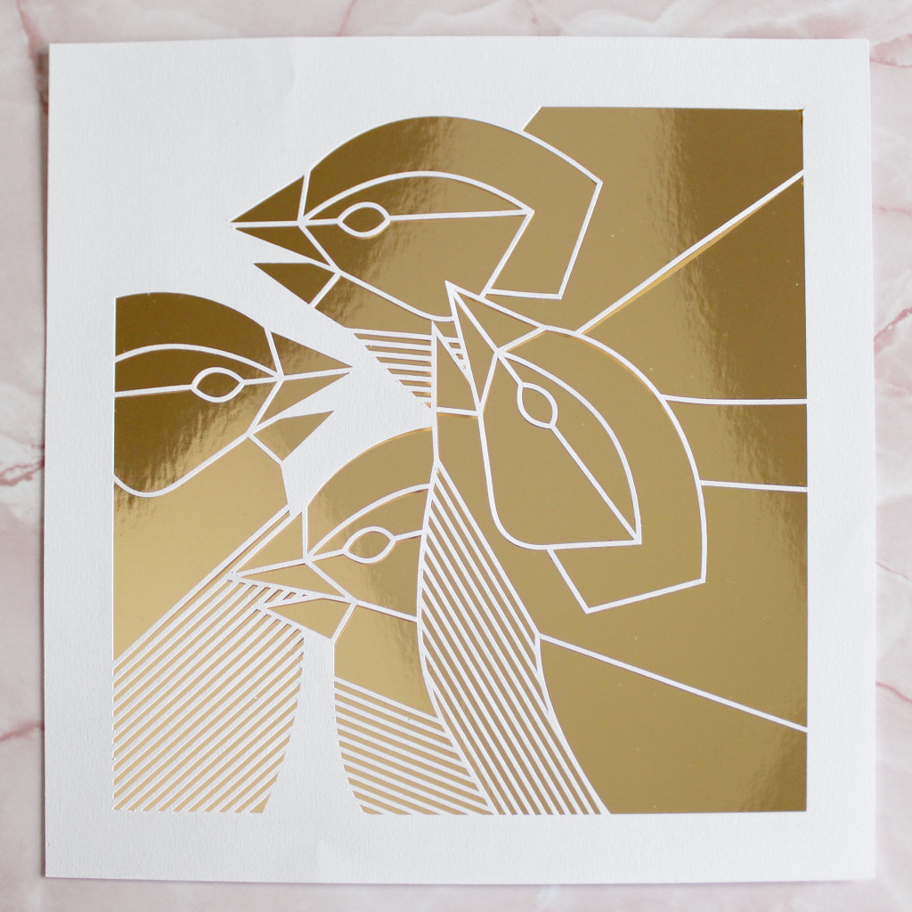 Gold Geometric Paper cut Four Calling Birds Artwork