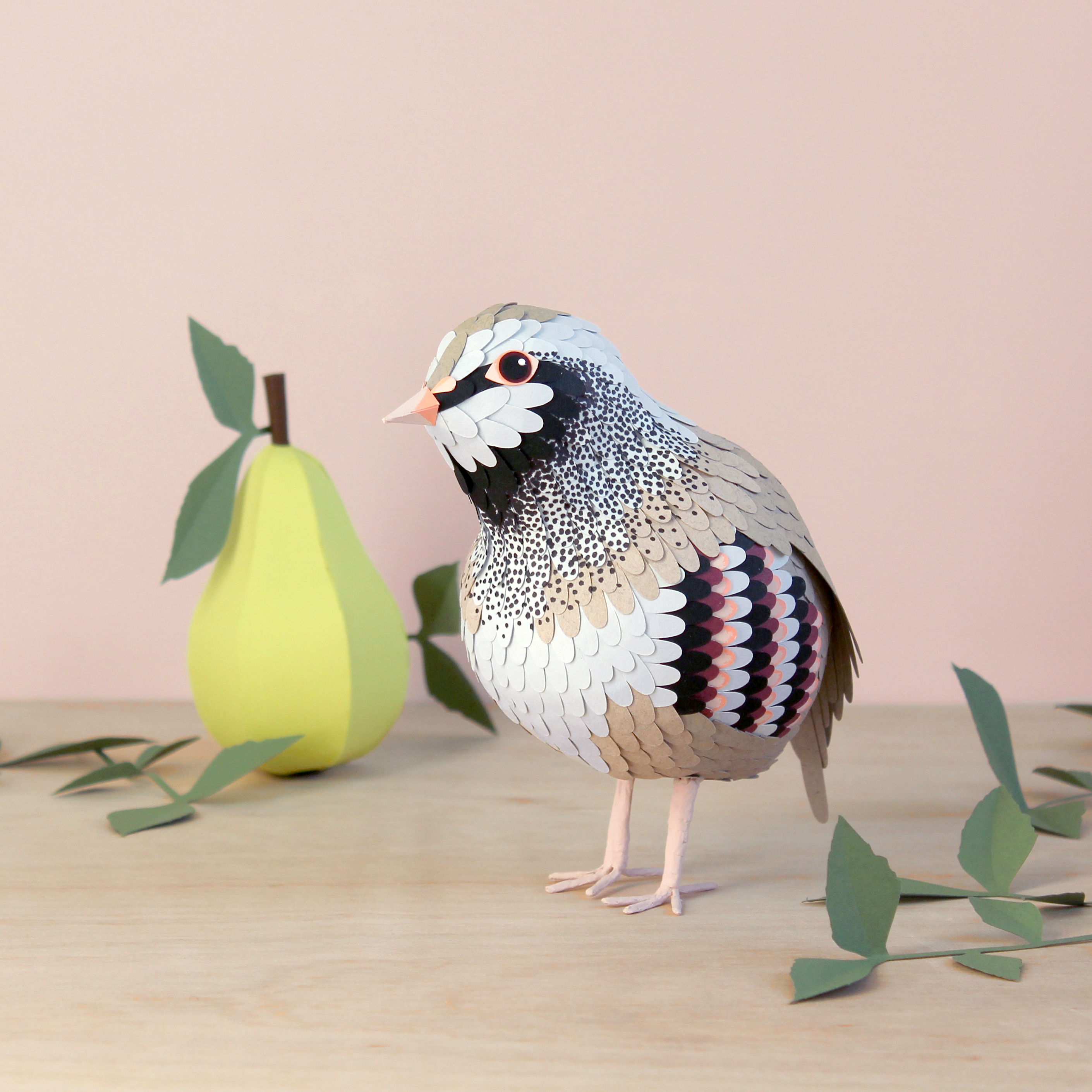3D Paper Engineered Partridge in a Pear Tree Bird