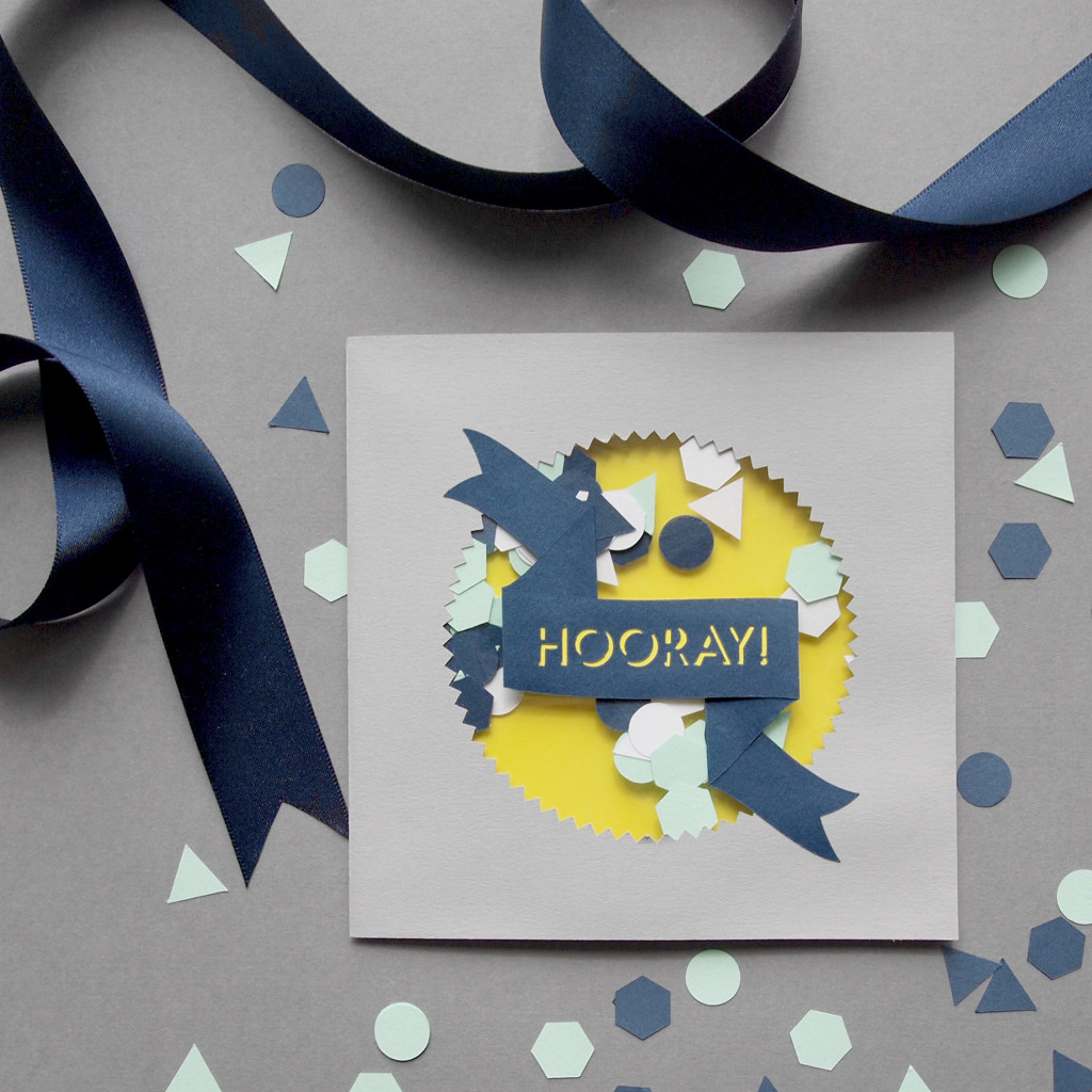'Hooray!' Paper Cut Confetti Card