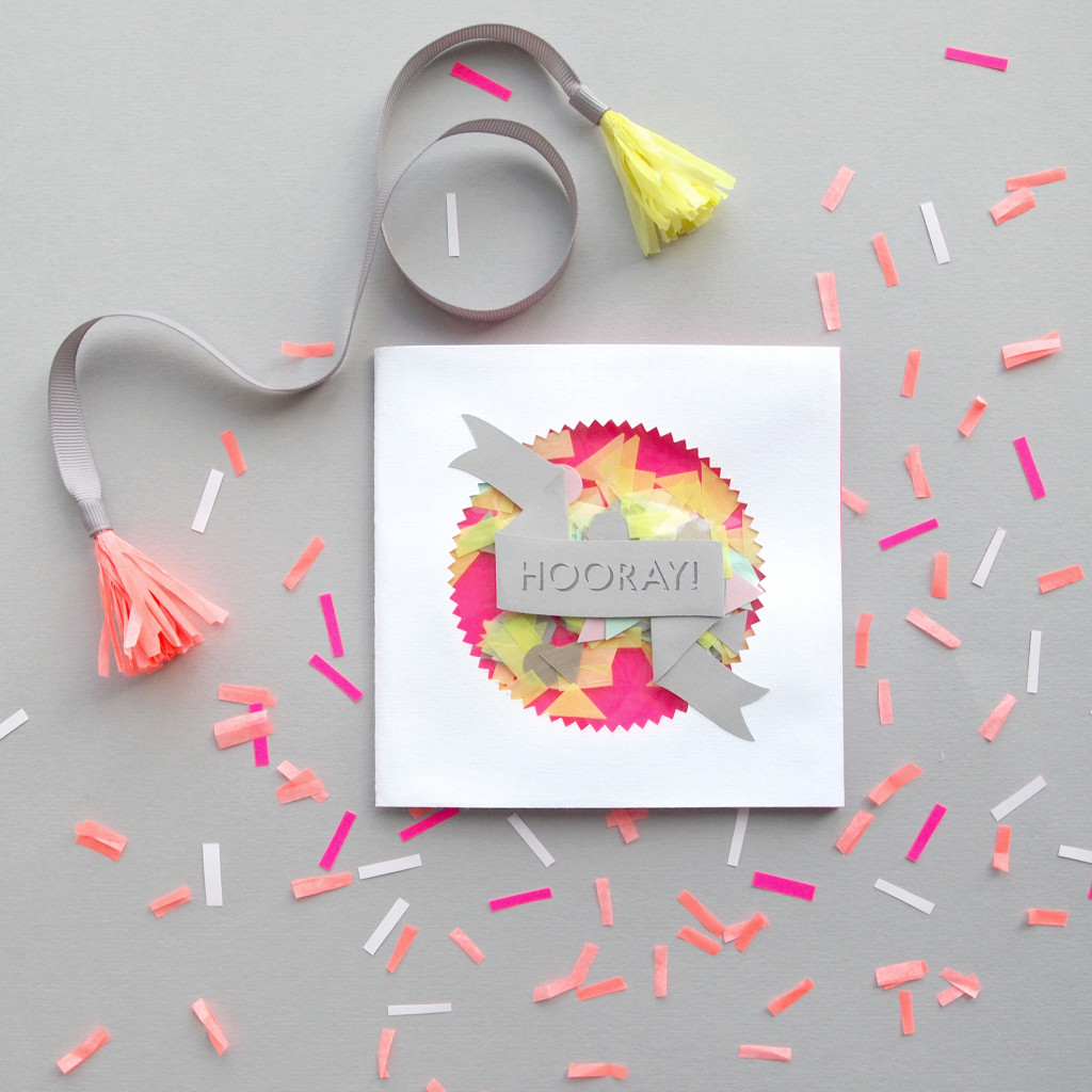 'Hooray' Fluorescent Papercut Confetti Card